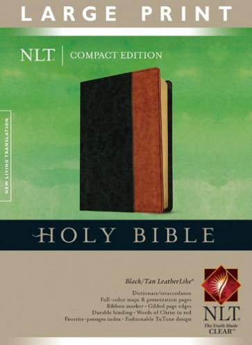 Compact Edition Bible NLT, Large Print, TuTone (Red Letter, LeatherLike, Black/Tan) - LeatherLike Black/Multicolor/Tan With ribbon marker(s)