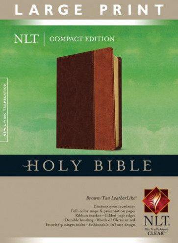 Compact Edition Bible NLT, Large Print, TuTone (Red Letter, LeatherLike, Brown/Tan) - LeatherLike Brown/Multicolor/Tan With ribbon marker(s)