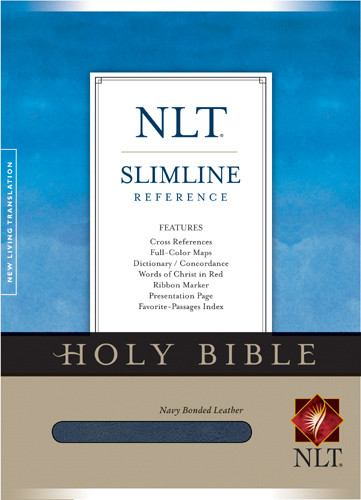 Slimline Reference Bible NLT - Bonded Leather Navy With ribbon marker(s)