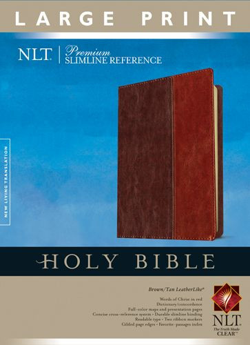Premium Slimline Reference Bible NLT, Large Print, TuTone (Red Letter, LeatherLike, Brown/Tan) - LeatherLike Brown/Multicolor/Tan With ribbon marker(s)