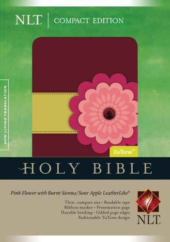 Compact Edition Bible NLT, TuTone (LeatherLike, Pink Flower w/Burnt Sienna/Sour Apple) - LeatherLike Multicolor/Burnt Sienna/Sour Apple/Pink Flower w With ribbon marker(s)