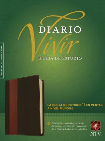 Biblia de estudio del diario vivir NTV (Letra Roja, SentiPiel, Café/Café claro) - LeatherLike Brown/Multicolor/Tan With ribbon marker(s)