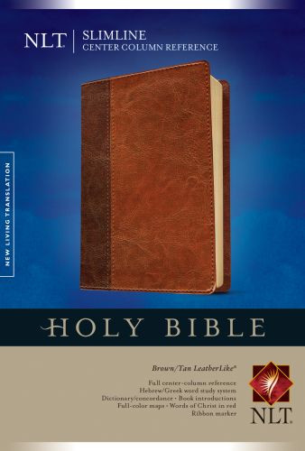 Slimline Center Column Reference Bible NLT, TuTone  - LeatherLike Brown/Multicolor/Tan With ribbon marker(s)