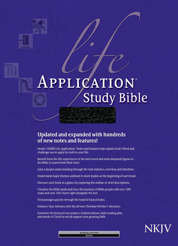 NKJV Life Application Study Bible, Second Edition (Red Letter, Bonded Leather, Black, Indexed) - Bonded Leather Black With thumb index and ribbon marker(s)