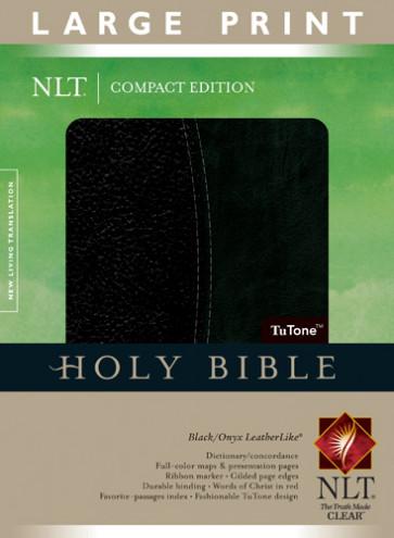 Compact Edition Bible NLT, Large Print, TuTone (Red Letter, LeatherLike, Black/Onyx) - LeatherLike Black/Onyx/Multicolor With ribbon marker(s)