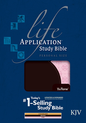 KJV Life Application Study Bible, Second Edition, Personal Size, TuTone (LeatherLike, Brown/Pink) - LeatherLike Brown/Multicolor/Pink With ribbon marker(s)