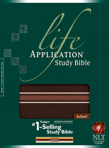 NLT Life Application Study Bible, Second Edition, TuTone (Red Letter, LeatherLike, Dark Brown w/Tan Stripes) - LeatherLike Dark Brown w/Multicolor/Tan Stripes With ribbon marker(s)