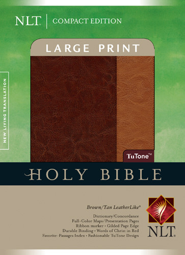 Compact Edition Bible NLT, Large Print, TuTone (Red Letter, LeatherLike, Brown/Tan, Indexed) - LeatherLike Brown/Multicolor/Tan With thumb index and ribbon marker(s)
