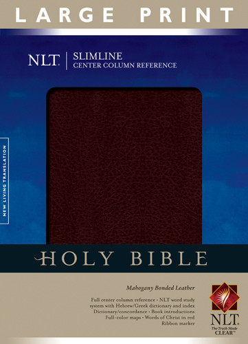 Slimline Center Column Reference Bible NLT, Large Print (Red Letter, Bonded Leather, Mahogany) - Leather, bonded Mahogany With ribbon marker(s)