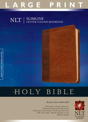 Slimline Center Column Reference Bible NLT, Large Print, TuTone (Red Letter, LeatherLike, Brown/Tan, Indexed) - LeatherLike Brown/Multicolor/Tan With thumb index and ribbon marker(s)