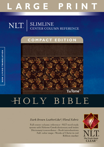 Slimline Center Column Reference Bible NLT, Compact edition, Large Print, Floral TuTone (Red Letter, LeatherLike, Floral/Dark Brown) - LeatherLike Dark Brown/Floral With ribbon marker(s)