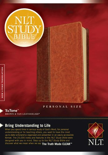 NLT Study Bible, Personal Size, TuTone (LeatherLike, Brown/Tan) - LeatherLike Brown/Multicolor/Tan With ribbon marker(s)