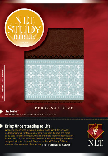NLT Study Bible, Personal Size, TuTone (LeatherLike, Dark Brown/Blue Fabric) - LeatherLike Blue Fabric/Dark Brown/Multicolor With ribbon marker(s)