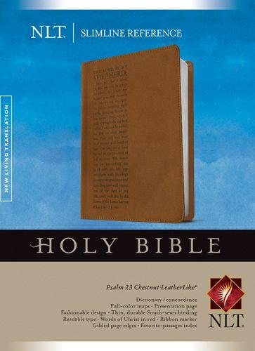 Slimline Reference Bible NLT (Red Letter, LeatherLike, Chestnut/Brown) - LeatherLike Brown/Multicolor/Chestnut With ribbon marker(s)