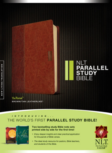 NLT Parallel Study Bible, TuTone (LeatherLike, Brown/Tan) - LeatherLike Brown/Multicolor/Tan With ribbon marker(s)