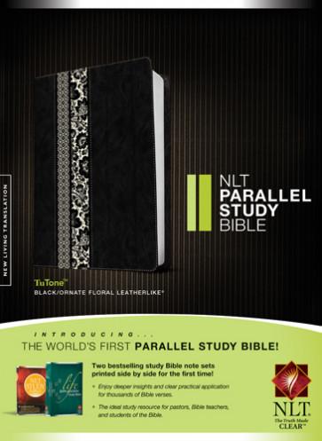 NLT Parallel Study Bible, Floral TuTone (LeatherLike, Black/Ornate Floral Fabric) - LeatherLike Black/Ornate Floral Fabric With ribbon marker(s)