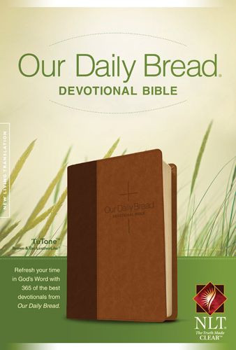 Our Daily Bread Devotional Bible NLT, TuTone (LeatherLike, Brown/Tan) - LeatherLike Brown/Multicolor/Tan With ribbon marker(s)