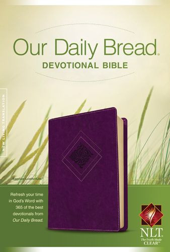 Our Daily Bread Devotional Bible NLT (LeatherLike, Eggplant) - LeatherLike Eggplant With ribbon marker(s)
