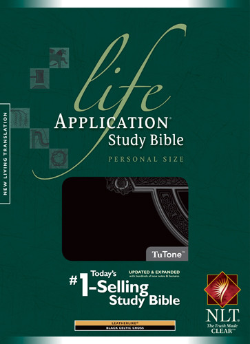 NLT Life Application Study Bible, Second Edition, Personal Size, Celtic Cross Edition (LeatherLike, Black, Indexed) - LeatherLike Black With thumb index and ribbon marker(s)