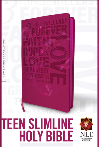 Teen Slimline Bible NLT (Red Letter, LeatherLike, Hot Pink) - LeatherLike Hot Pink With ribbon marker(s)