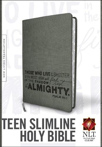 Teen Slimline Bible NLT (Red Letter, LeatherLike, Charcoal) - LeatherLike Charcoal With ribbon marker(s)