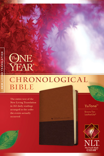 The One Year Chronological Bible NLT, TuTone (LeatherLike, Brown/Tan) - LeatherLike Brown/Multicolor/Tan With ribbon marker(s)