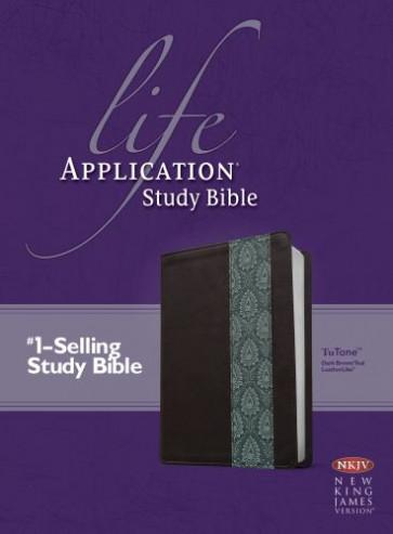 NKJV Life Application Study Bible, Second Edition, TuTone (Red Letter, LeatherLike, Dark Brown/Teal) - LeatherLike Dark Brown/Multicolor/Teal With ribbon marker(s)