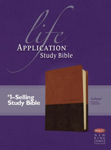 NKJV Life Application Study Bible, Second Edition, TuTone (Red Letter, LeatherLike, Brown/Tan, Indexed) - LeatherLike Brown/Multicolor/Tan With thumb index and ribbon marker(s)