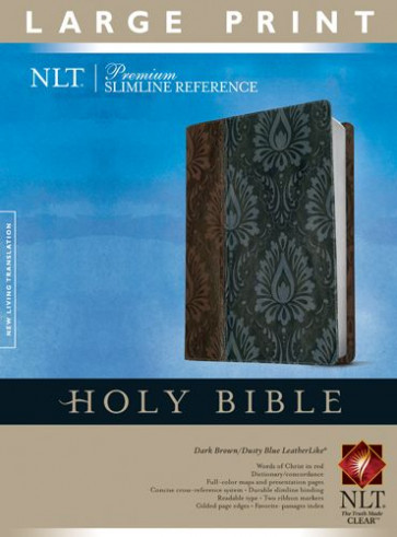 Premium Slimline Reference Bible NLT, Large Print, TuTone (Red Letter, LeatherLike, Dark Brown/Dusty Blue) - LeatherLike Dusty Blue/Dark Brown/Multicolor With ribbon marker(s)