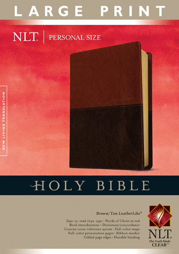 Holy Bible NLT, Personal Size Large Print edition, TuTone (Red Letter, LeatherLike, Brown/Tan, Indexed) - LeatherLike Brown/Multicolor/Tan With thumb index and ribbon marker(s)