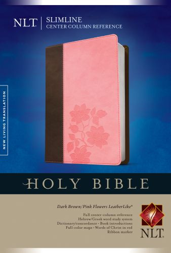 Slimline Center Column Reference Bible NLT, TuTone (Red Letter, LeatherLike, Dark Brown/Pink Flowers) - LeatherLike Dark Brown/Multicolor/Pink Flowers With ribbon marker(s)