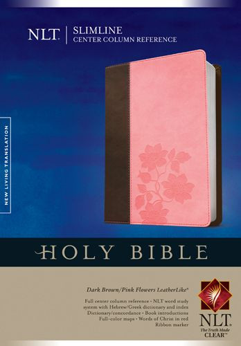 Slimline Center Column Reference Bible NLT, TuTone (Red Letter, LeatherLike, Dark Brown/Pink Flowers, Indexed) - LeatherLike Dark Brown/Multicolor/Pink Flowers With thumb index and ribbon marker(s)