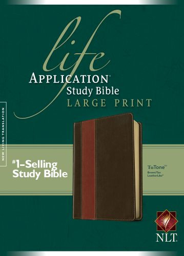NLT Life Application Study Bible, Second Edition, Large Print, TuTone (Red Letter, LeatherLike, Brown/Tan) - LeatherLike Brown/Tan With ribbon marker(s)