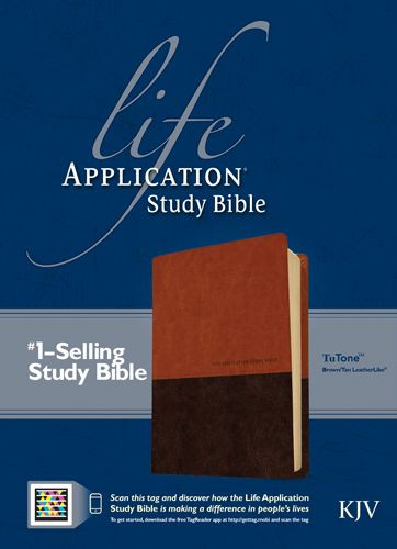 KJV Life Application Study Bible, Second Edition, TuTone (Red Letter, LeatherLike, Brown/Tan, Indexed) - LeatherLike Brown/Multicolor/Tan With thumb index and ribbon marker(s)