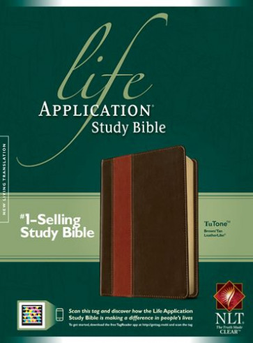 NLT Life Application Study Bible, Second Edition, TuTone (Red Letter, LeatherLike, Brown/Tan) - LeatherLike Brown/Multicolor/Tan With ribbon marker(s)
