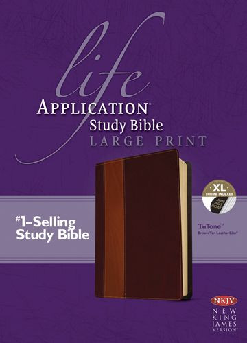 NKJV Life Application Study Bible, Second Edition, Large Print (Red Letter, LeatherLike, Brown/Tan, Indexed) - LeatherLike Brown/Multicolor/Tan With thumb index and ribbon marker(s)