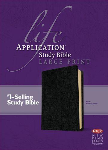 NKJV Life Application Study Bible, Second Edition, Large Print (Red Letter, Bonded Leather, Black) - Bonded Leather Black With ribbon marker(s)