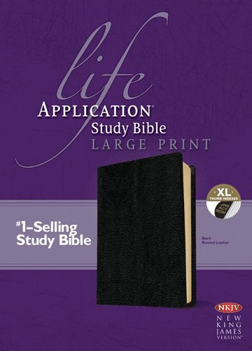 NKJV Life Application Study Bible, Second Edition, Large Print (Red Letter, Bonded Leather, Black, Indexed) - Bonded Leather Black With thumb index and ribbon marker(s)