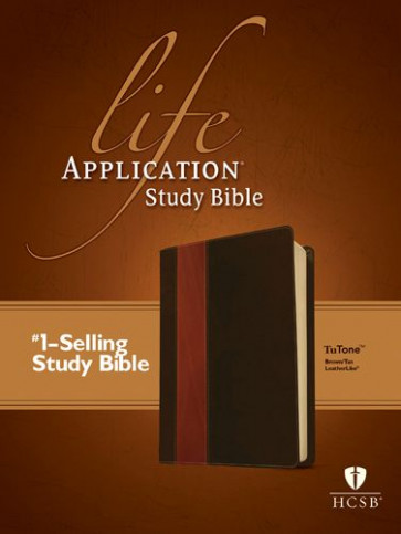 HCSB Life Application Study Bible, Second Edition, TuTone (Red Letter, LeatherLike, Brown/Tan) - LeatherLike Brown/Multicolor/Tan With ribbon marker(s)