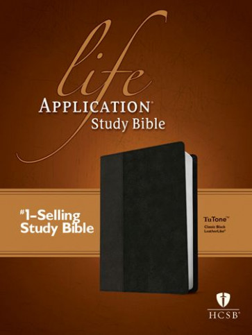 HCSB Life Application Study Bible, Second Edition, TuTone (Red Letter, LeatherLike, Classic Black) - LeatherLike Classic Black With ribbon marker(s)