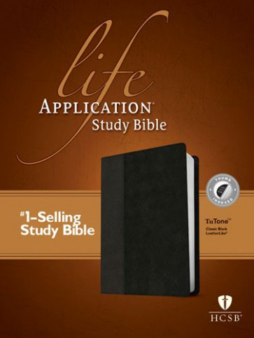 HCSB Life Application Study Bible, Second Edition, TuTone (Red Letter, LeatherLike, Classic Black, Indexed) - LeatherLike Classic Black With thumb index and ribbon marker(s)