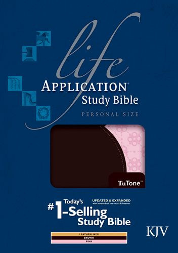 KJV Life Application Study Bible, Second Edition, Personal Size, TuTone (LeatherLike, Brown/Pink, Indexed) - LeatherLike Brown/Multicolor/Pink With thumb index and ribbon marker(s)