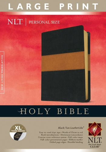 Holy Bible NLT, Personal Size Large Print edition, TuTone (Red Letter, LeatherLike, Black/Tan, Indexed) - LeatherLike Black/Multicolor/Tan With thumb index and ribbon marker(s)