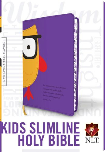 Kids Slimline Bible NLT, TuTone (Red Letter, LeatherLike, Purple/Yellow Owl) - LeatherLike Purple/Yellow Owl With ribbon marker(s)