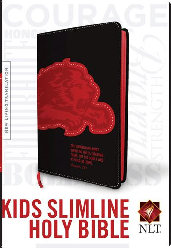 Kids Slimline Bible NLT, TuTone (Red Letter, LeatherLike, Black/Red Lion) - LeatherLike Black/Red Lion With ribbon marker(s)