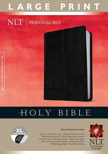 Holy Bible NLT, Personal Size Large Print edition (Red Letter, Bonded Leather, Black, Indexed) - Bonded Leather Black With thumb index and ribbon marker(s)