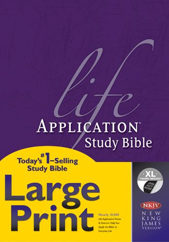 NKJV Life Application Study Bible, Second Edition, Large Print (Red Letter, Hardcover, Indexed) - Hardcover With thumb index