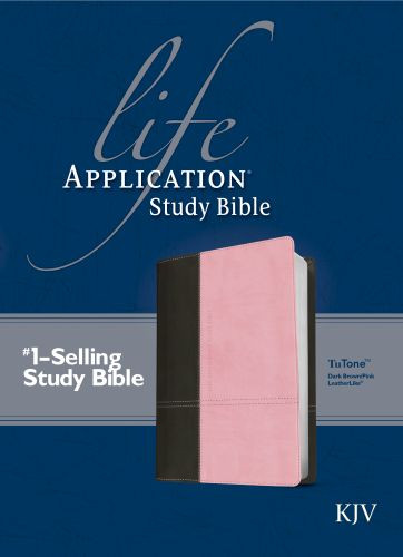KJV Life Application Study Bible, Second Edition, TuTone (Red Letter, LeatherLike, Dark Brown/Pink) - LeatherLike Dark Brown/Multicolor/Pink With ribbon marker(s)