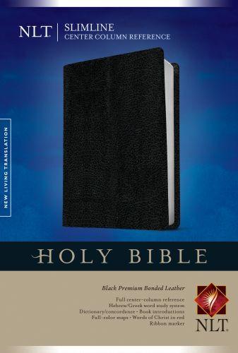 Slimline Center Column Reference Bible NLT (Red Letter, Bonded Leather, Black) - Premium Bonded Leather Black With ribbon marker(s)