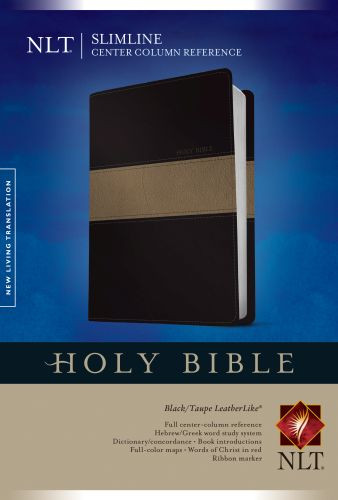 Slimline Center Column Reference Bible NLT, TuTone  - LeatherLike Black/Multicolor/Taupe With ribbon marker(s)